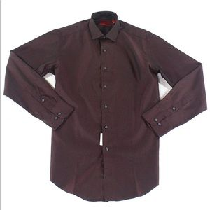 Alfani Men Striped Button Up Dress Shirt Red Wine